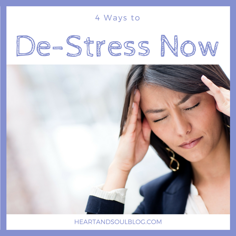 "Dark-haired woman with her eyes closed rubs her temples with the blog title ""4 Ways to De-Stress Now"""