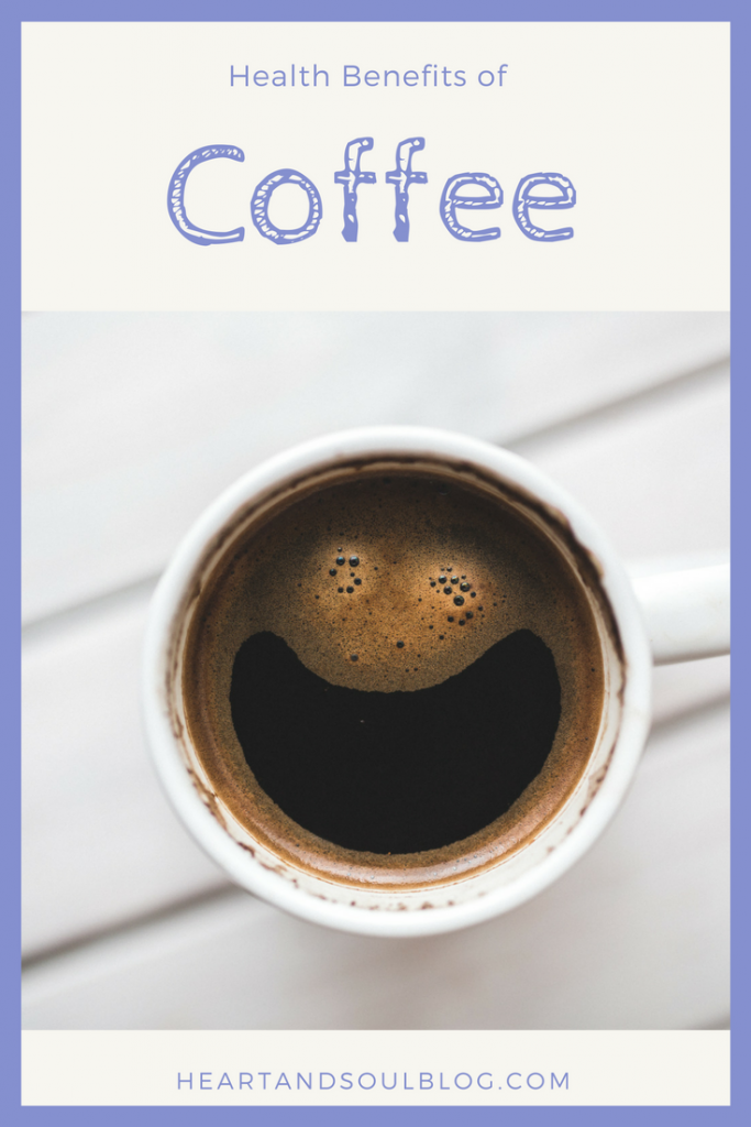 "Mug of coffee with foam in a smiling face, with the title ""Health Benefits of Coffee"" above"