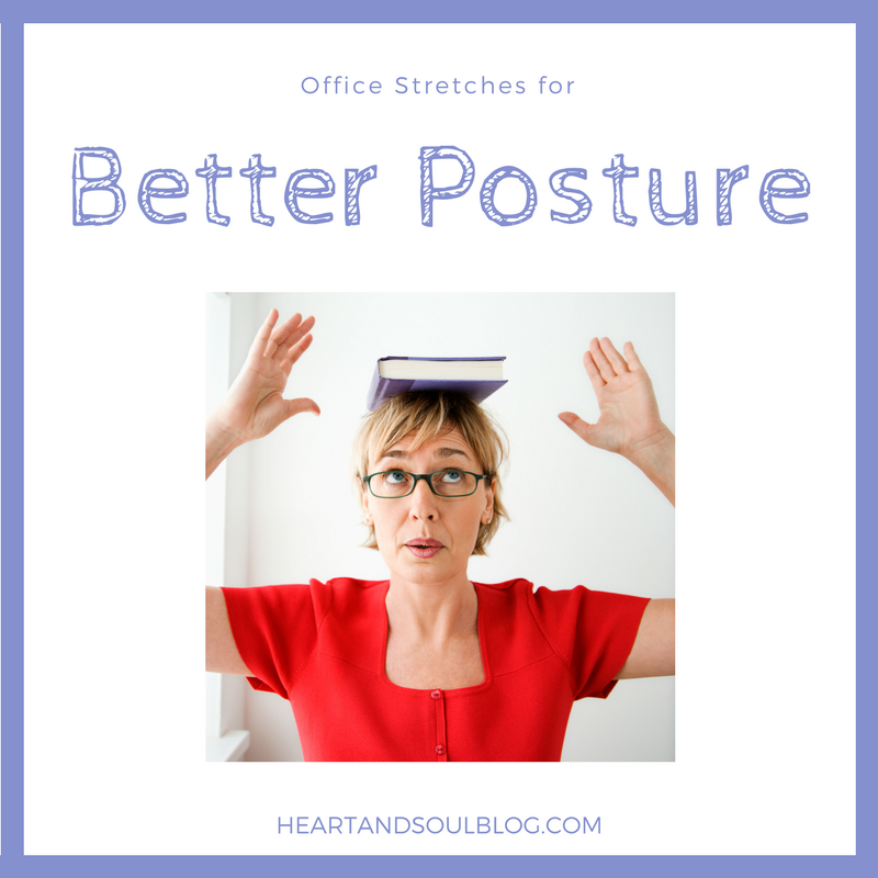 "A blonde woman balances a book on her head with the blog title ""Office Stretches for Better Posture"""