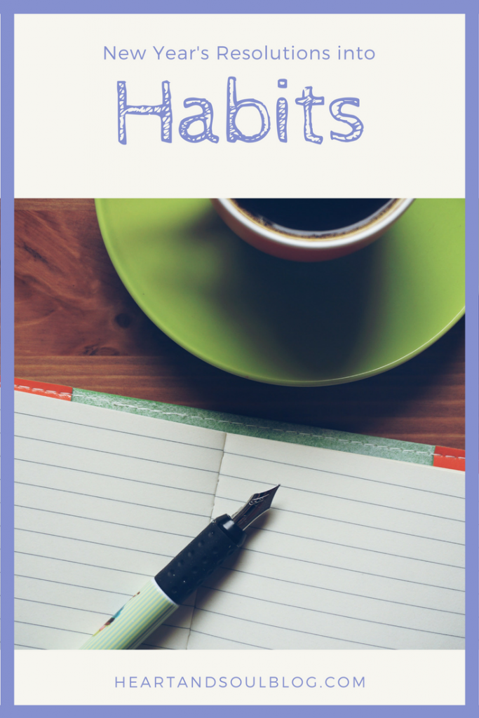 "Fountain pen on a notebook and a cup of coffee in a green mug with the blog title ""New Year's Resolutions into Habits"""