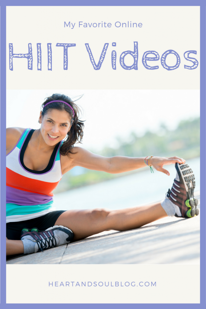 """A dark-haired woman in exercise clothes stretches with the title """"My Favorite Online HIIT videos"""""""