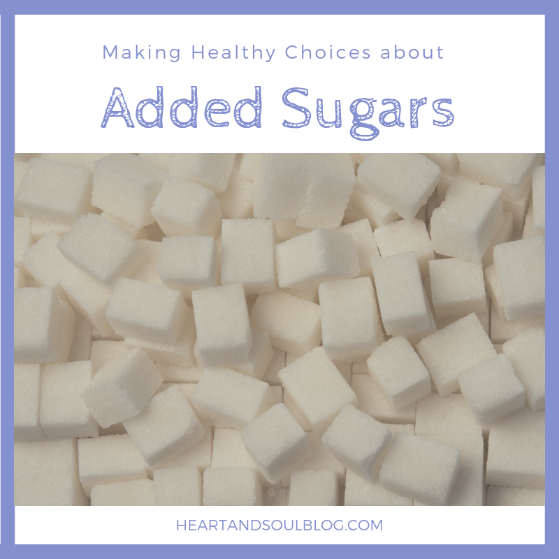 "A pile of sugar cubes with the title, ""Making Healthy Choices about Added Sugars"""
