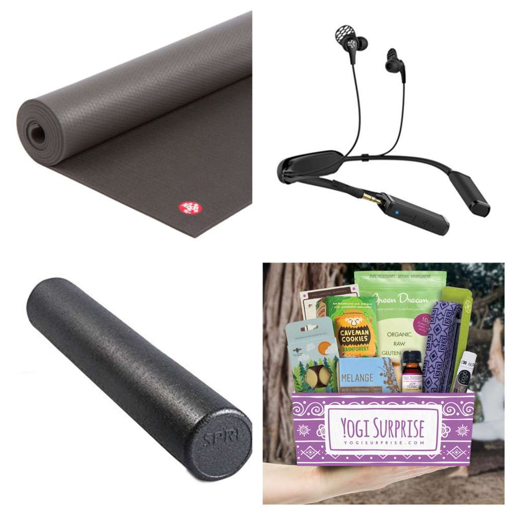 Collage with a yoga mat, earbuds, foam roller, and Yogi Surprise subscription box