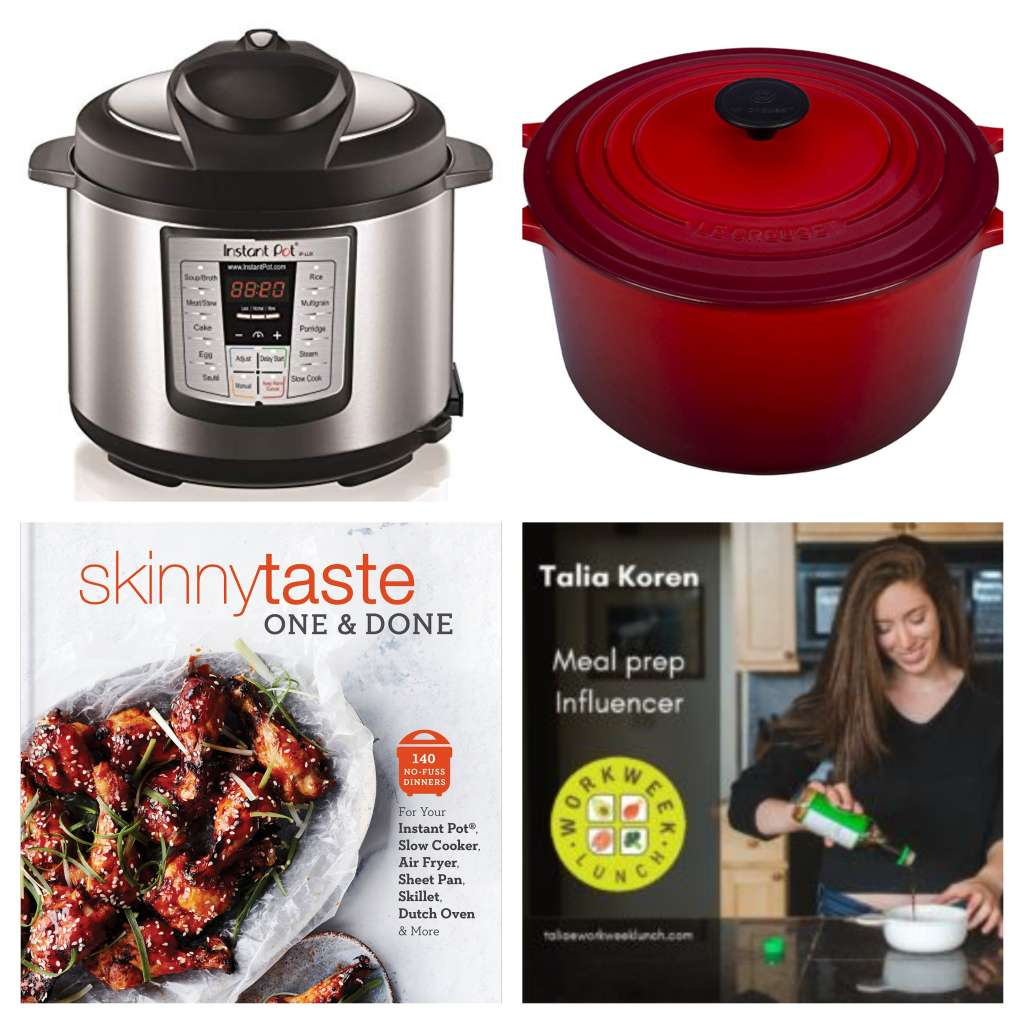 Collage with an Instant Pot, red Dutch oven, SkinnyTaste One and Done cookbook, and Workweek Lunch subscription plan promo photo