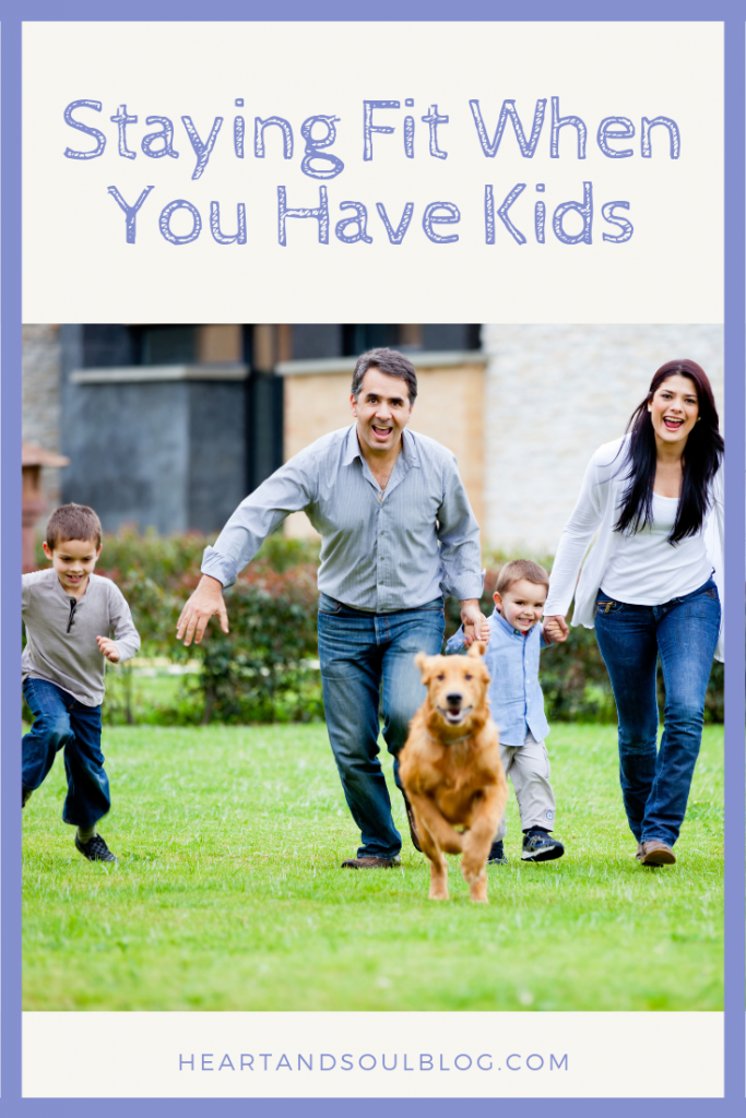 "A family with light skin and dark hair and their dog runs toward the camera with the title, ""Staying Fit When You Have Kids"""