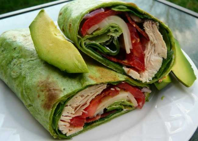Two green wraps with green avocado on top. Inside wrap is chicken, tomato, and avocado.