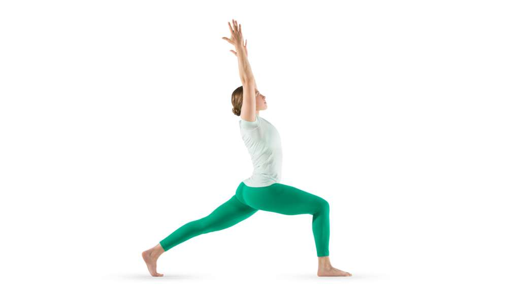 white background with woman wearing white shirt and green pants doing a crescent yoga pose with hands uplifted and one knee bent while the other knee is extended back