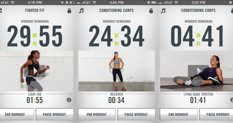 multiple Nike app images of a trainer in different workout positions next to stopwatch