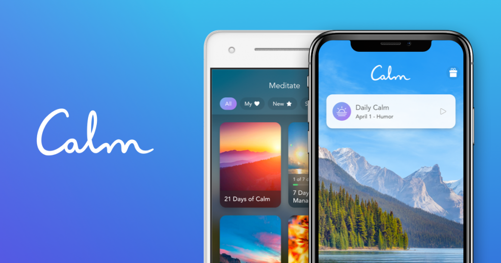 two phones with calm app and blue background that reads Calm