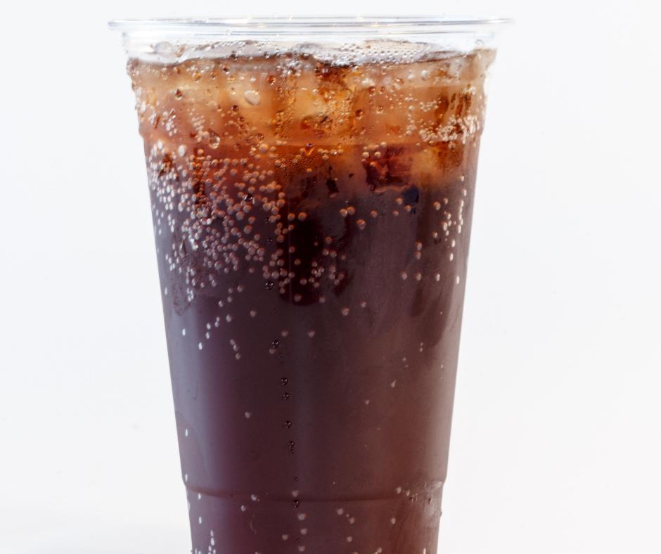 image of soda in plastic clear cup with ice