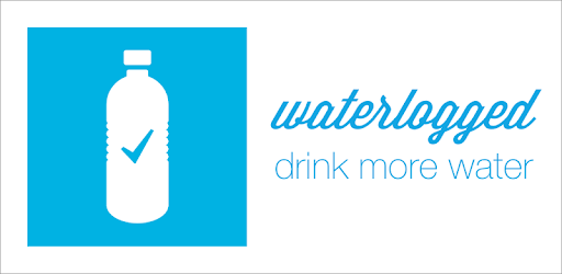 image of water bottle with check mark and text that reads Waterlogged drink more water