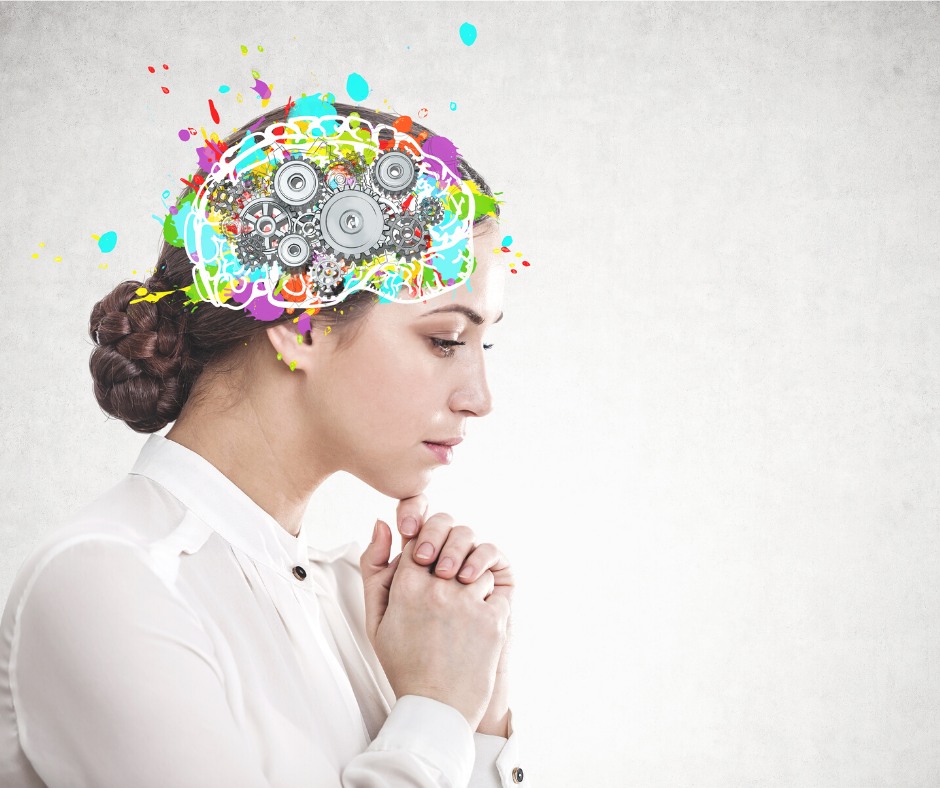 woman looking pensive with illustrations of gears around her brain